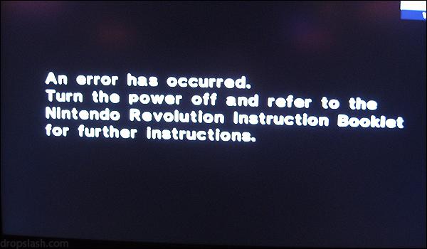 The Nintendo Revolution/Wii Error Screen